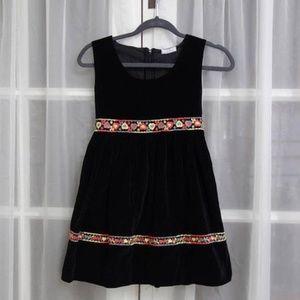 50s Vintage Sears Hearts Black Cotton Velvet Dress